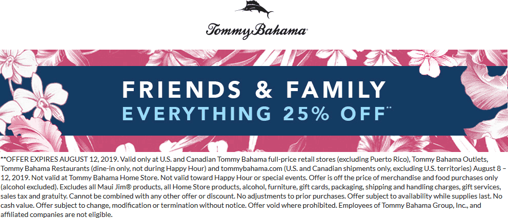 Tommy Bahama Coupon November 2019 25% off everything at Tommy Bahama stores & restaurants, also online