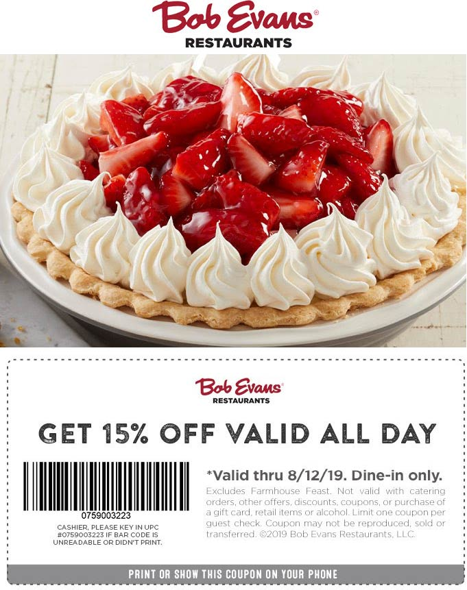 Bob Evans Coupon August 2020 15% off at Bob Evans restaurants