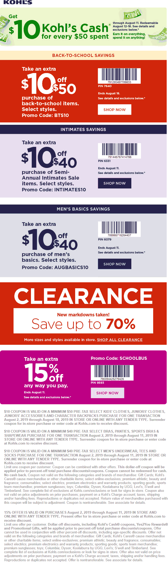 Kohls Coupon November 2019 Extra 15% off & more at Kohls, or online via promo code SCHOOLBUS