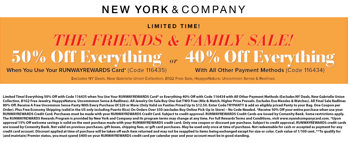 New York & Company Coupon August 2020 40% off everything at New York & Company, or online via promo code 116434