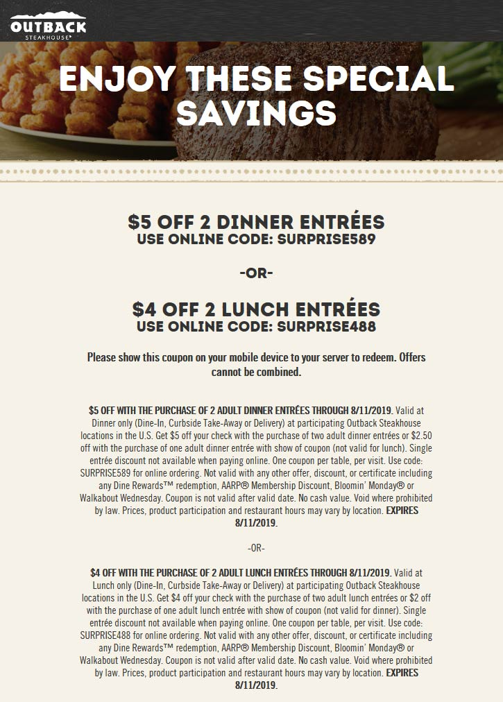 OutbackSteakhouse.com Promo Coupon $4-$5 off at Outback Steakhouse restaurants /