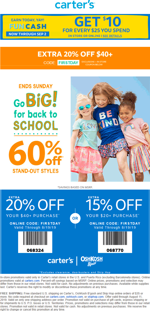 Carters.com Promo Coupon 15-20% off + 60% off back-to-school styles at Carters & OshKosh Bgosh, or online via promo code FIRSTDAY