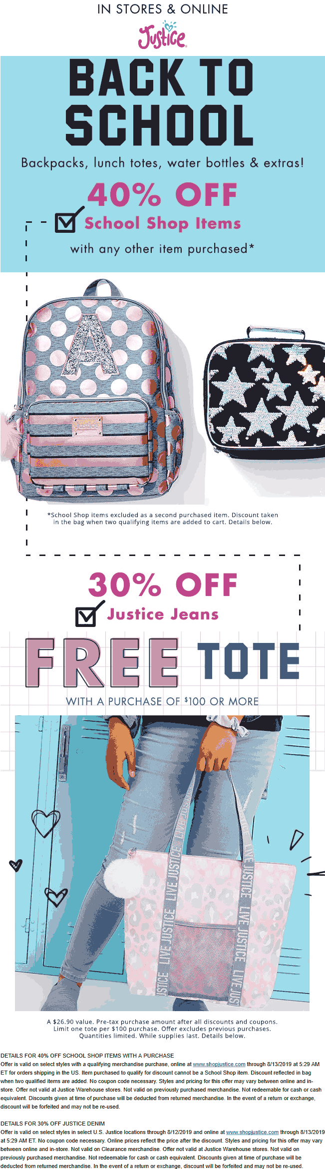 Justice Coupon November 2019 40% off school items & more at Justice, ditto online