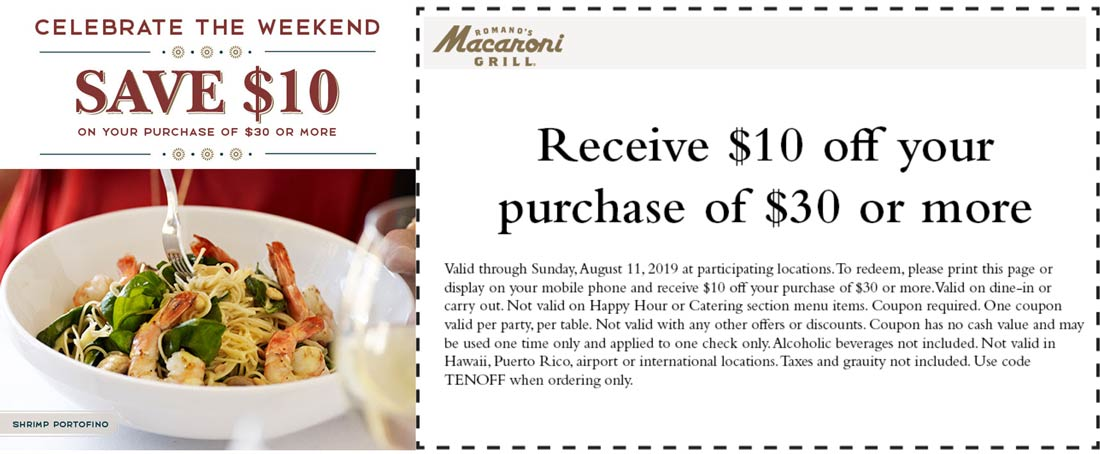 Macaroni Grill Coupon September 2019 $10 off $30 at Macaroni Grill restaurants