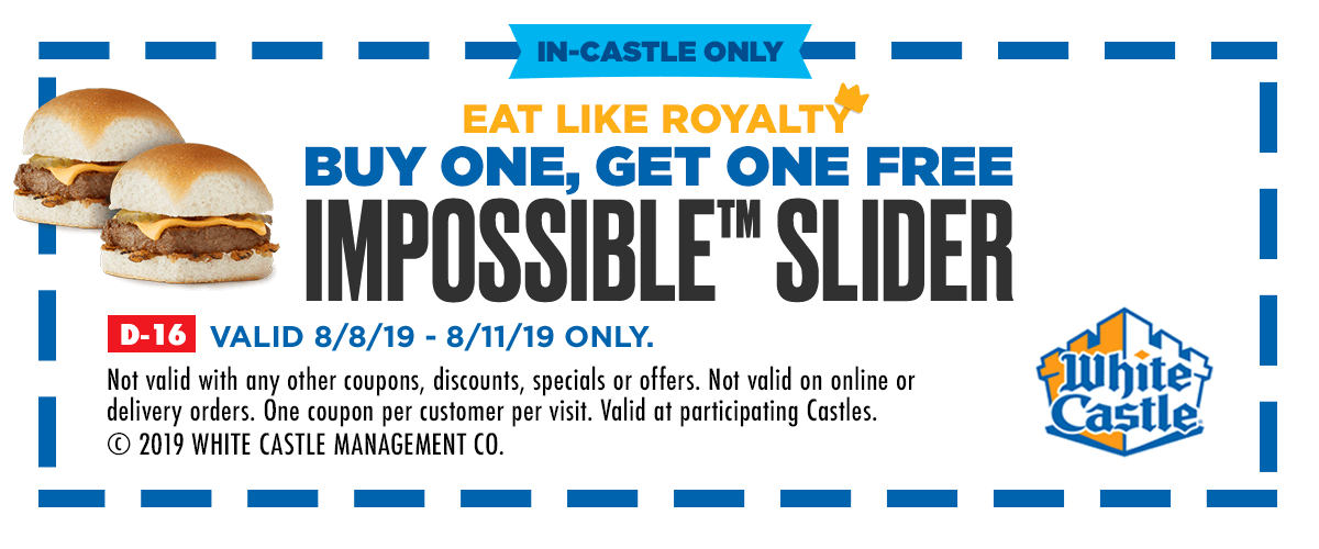 WhiteCastle.com Promo Coupon Second impossible slider free at White Castle restaurants