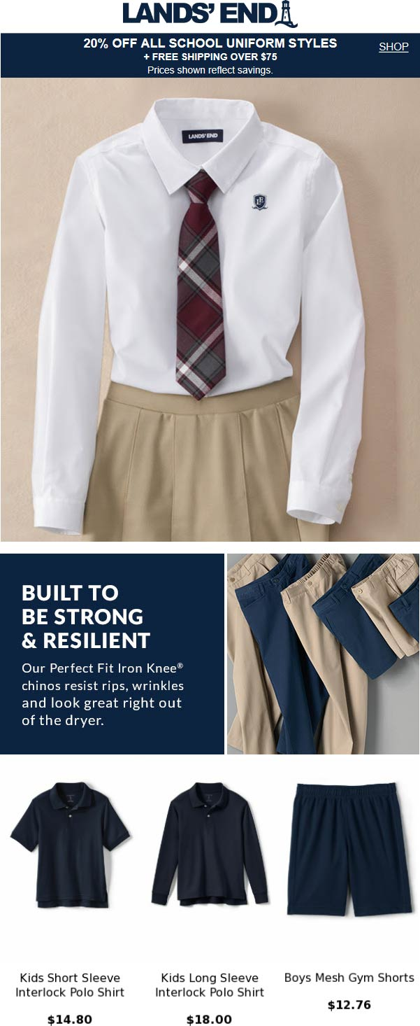 Lands End Coupon September 2019 20% off school uniforms at Lands End, ditto online