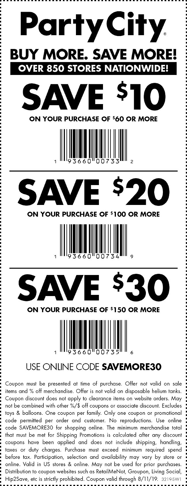 Party City Coupon August 2020 $10 off $60 & more at Party City, or online via promo code SAVEMORE30