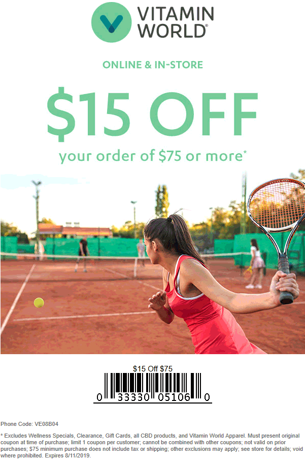 Vitamin World Coupon November 2019 $15 off $75 at Vitamin World, or online via promo code VE08B04