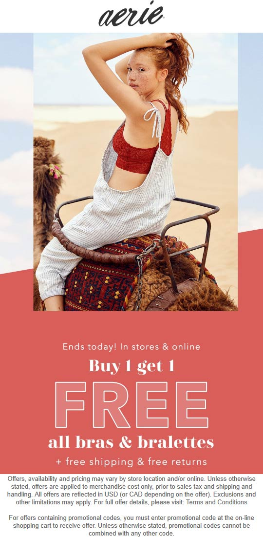 Aerie Coupon September 2019 Second bra free today at Aerie, ditto online