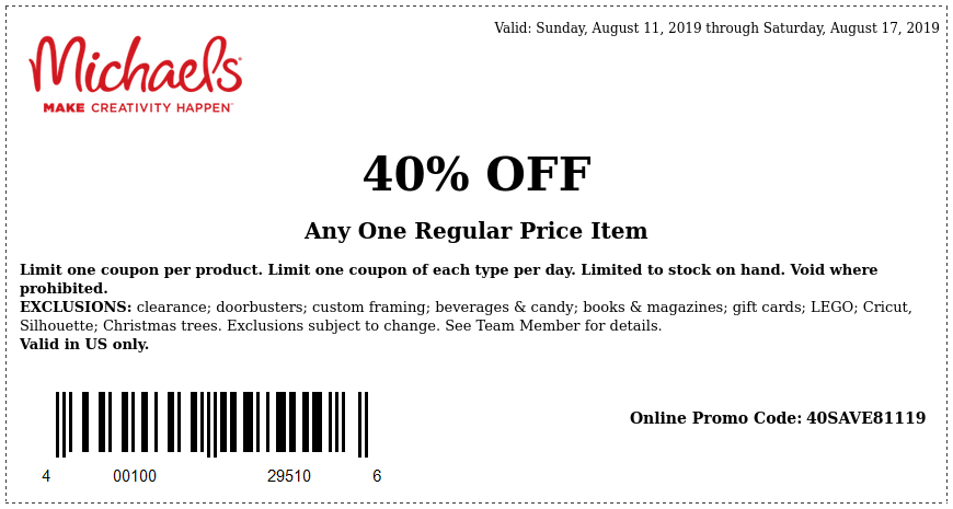 Michaels Coupon November 2019 40% off a single item at Michaels, or online via promo code 40SAVE81119