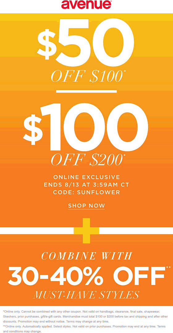 Avenue.com Promo Coupon $50 off $100 & more online today at Avenue