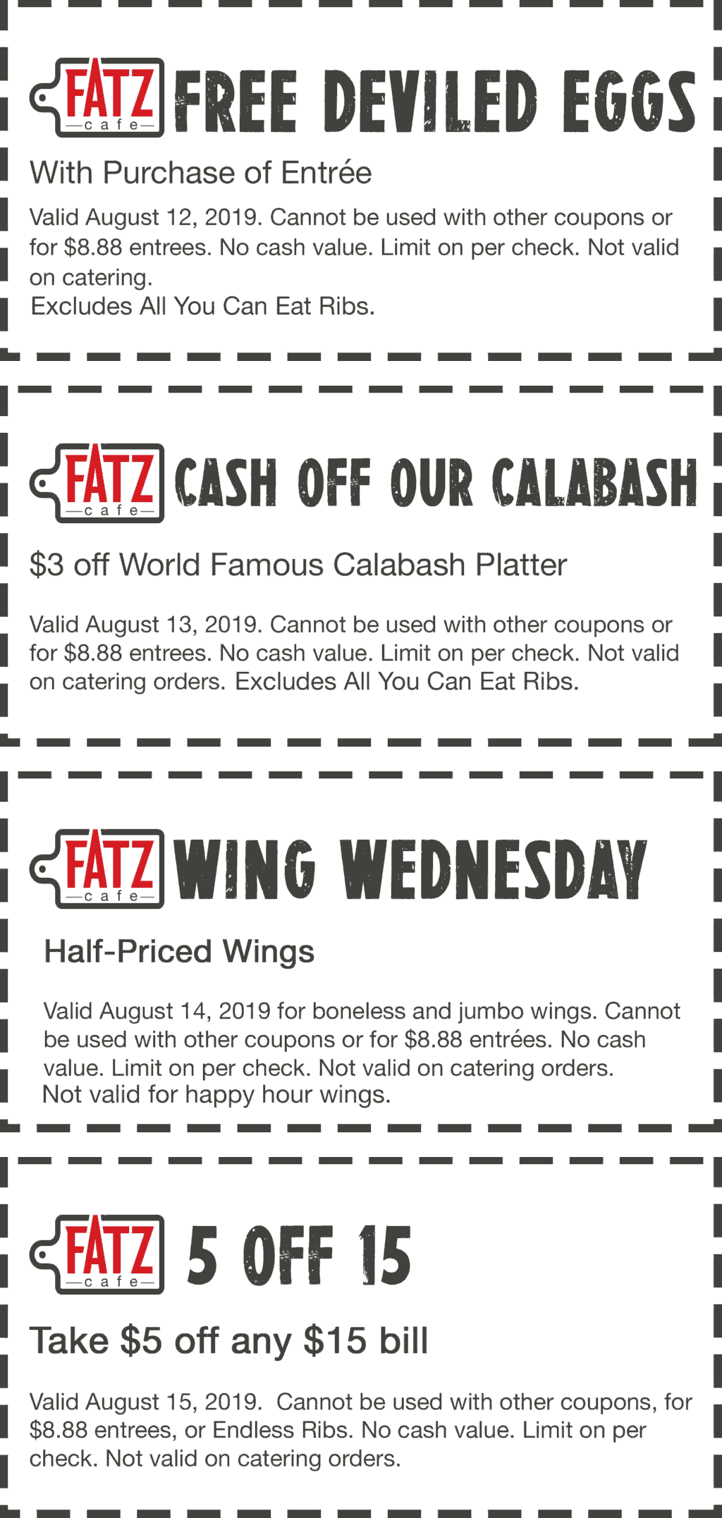 Fatz Cafe Coupon November 2019 $5 off $15 & more at Fatz cafe