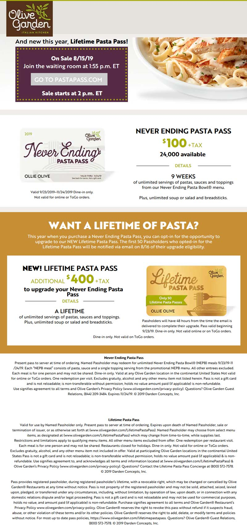 Olive Garden November 2020 Coupons And Promo Codes