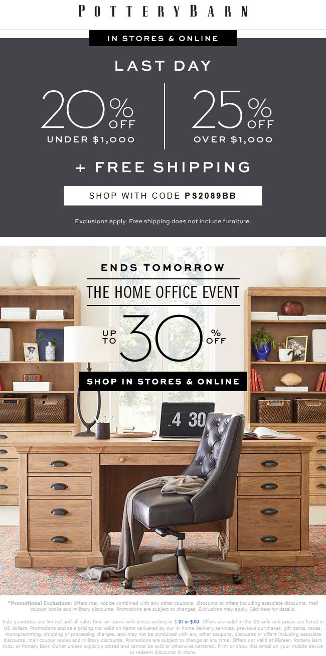 Pottery Barn Coupon February 2020 20-25% off today at Pottery Barn, or online via promo code PS2089BB