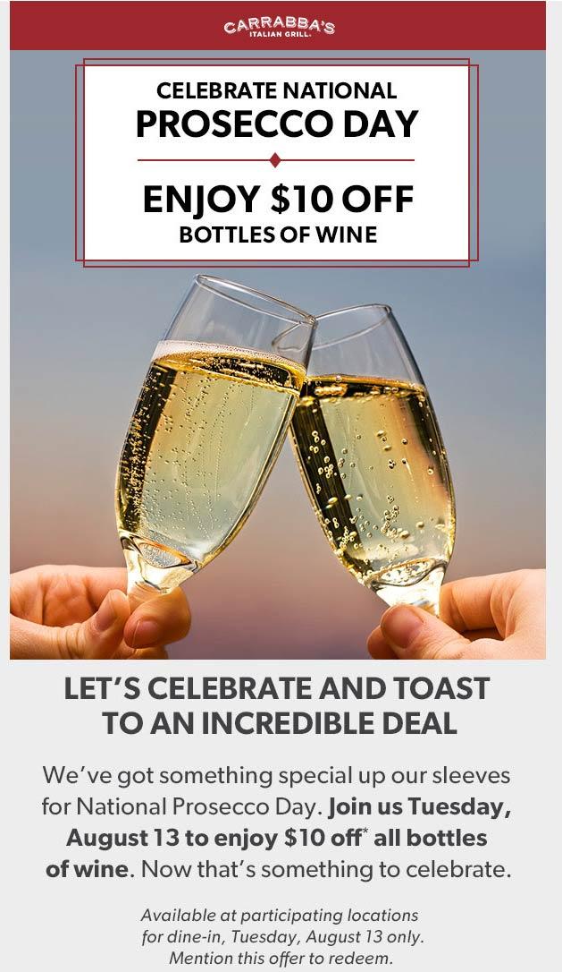 Carrabbas Coupon January 2020 $10 off wine today at Carrabbas restaurants