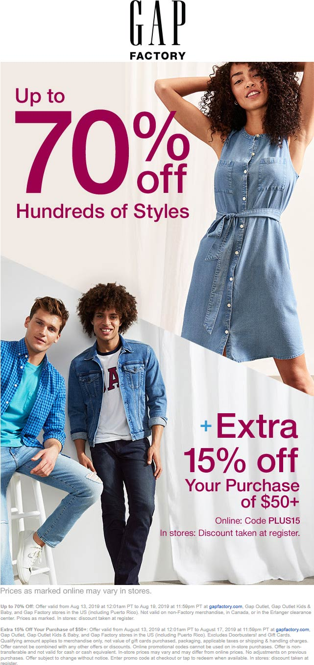 Gap Factory Coupon January 2020 15-85% off at Gap Factory, or online via promo code PLUS15