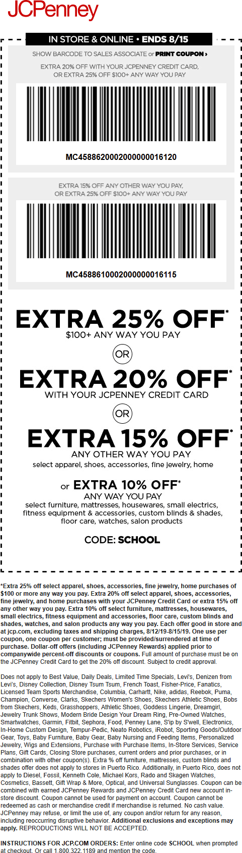 JCPenney Coupon November 2019 15-25% off at JCPenney, or online via promo code SCHOOL