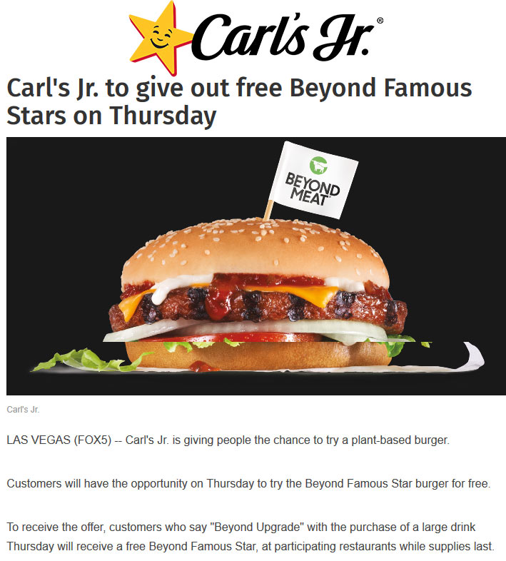 Carls Jr Coupon January 2020 Free beyond famous cheeseburger with your drink Thursday at Carls Jr