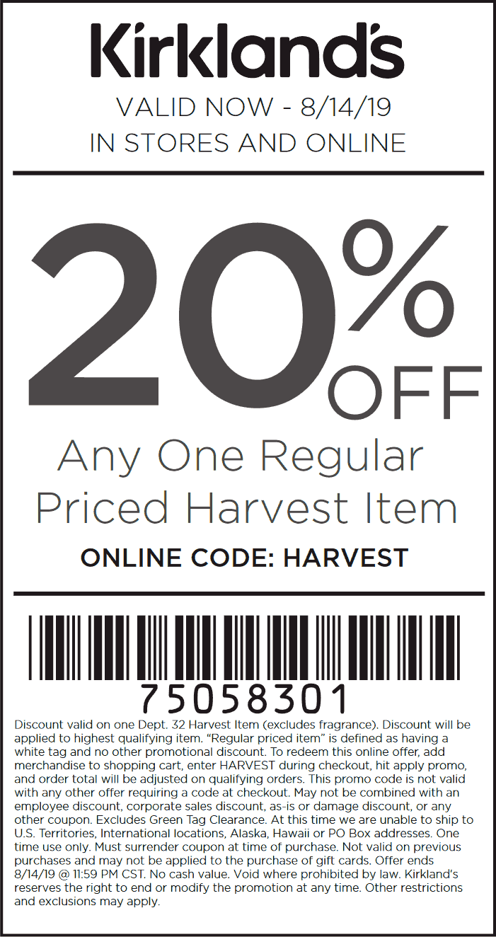 Kirklands.com Promo Coupon 20% off a single harvest item today at Kirklands, or online via promo code HARVEST
