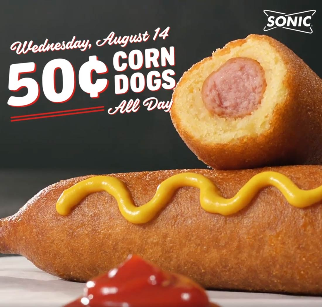 SonicDrive-In.com Promo Coupon .50 cent corn dogs today at Sonic Drive-In restaurants