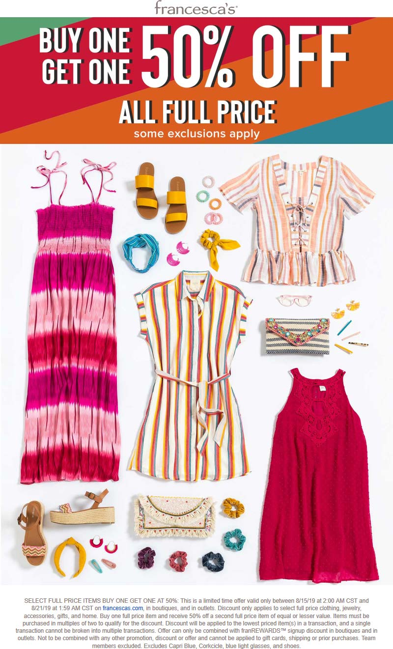 Francescas Coupon June 2020 Second item 50% off at Francescas, ditto online