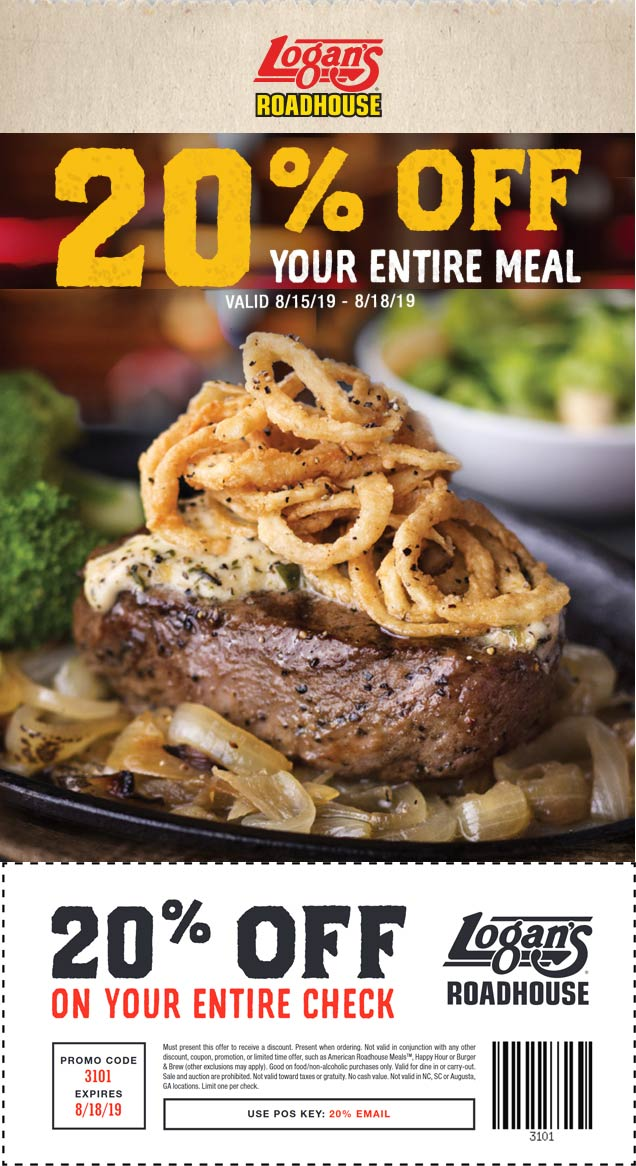 LogansRoadhouse.com Promo Coupon 20% off at Logans Roadhouse restaurants