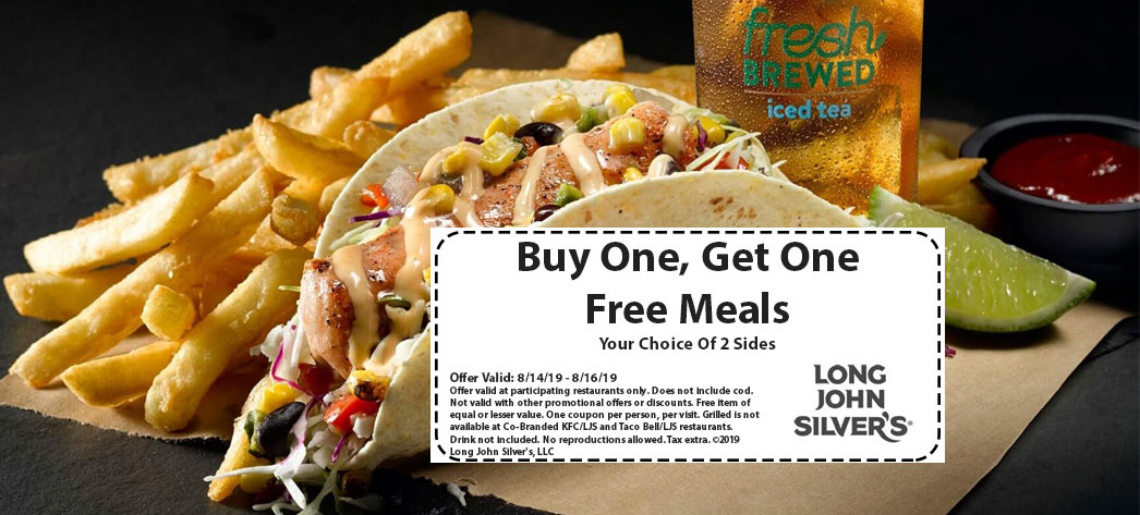 LongJohnSilvers.com Promo Coupon Second meal free at Long John Silvers