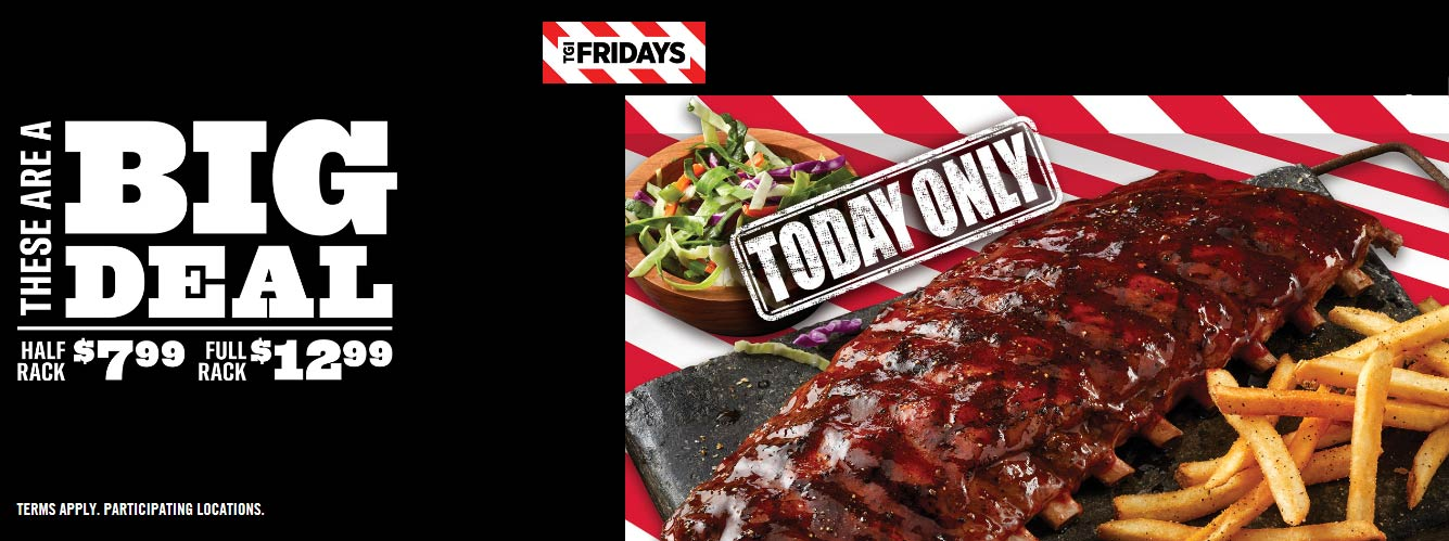 TGI Fridays Coupon November 2019 Half rack ribs + side = $8 & more today at TGI Fridays