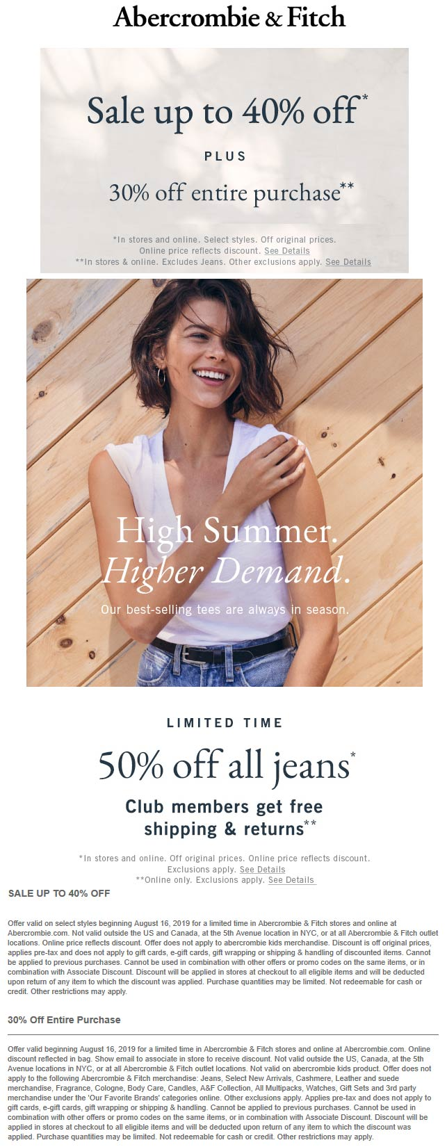 Abercrombie & Fitch Coupon September 2019 30% off everything at Abercrombie & Fitch, ditto online
