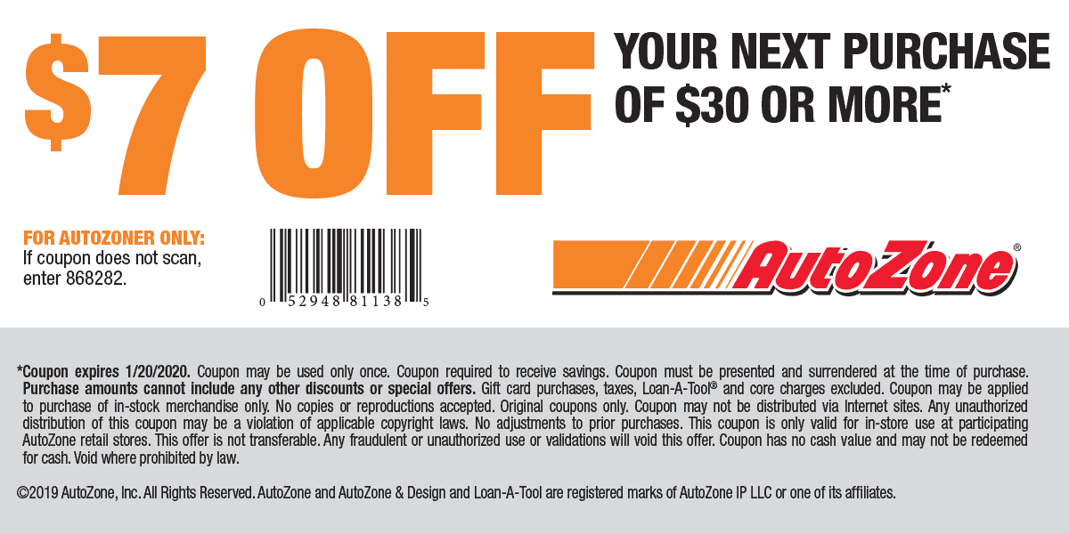 AutoZone Coupon October 2019 $7 off $30 at AutoZone