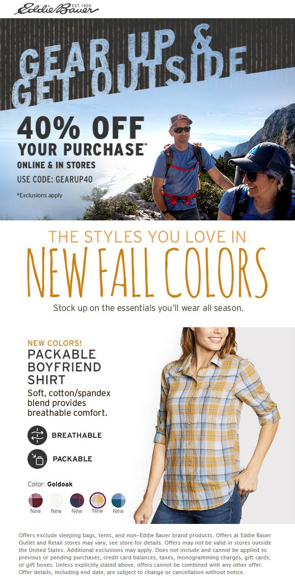 Eddie Bauer Coupon October 2019 40% off at Eddie Bauer, or online via promo code GEARUP40