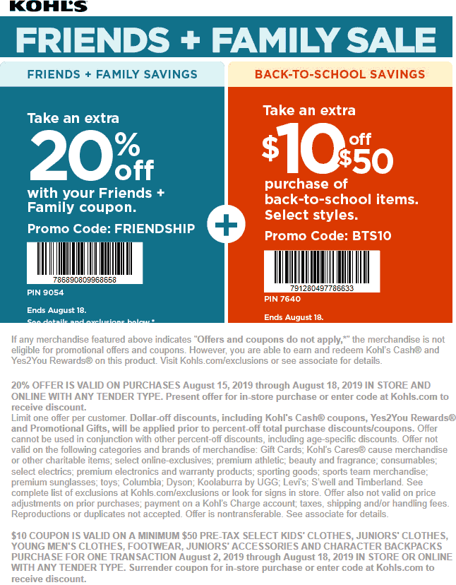 Kohls.com Promo Coupon 20% off + $10 off $50 on back-to-school at Kohls, or online via promo code FRIENDSHIP