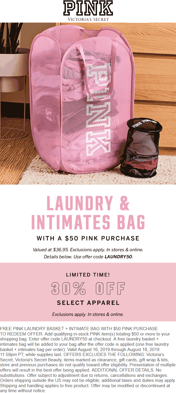 PINK Coupon January 2020 Free laundry bag with $50 spent at Victorias Secret PINK, or online via promo code LAUNDRY50