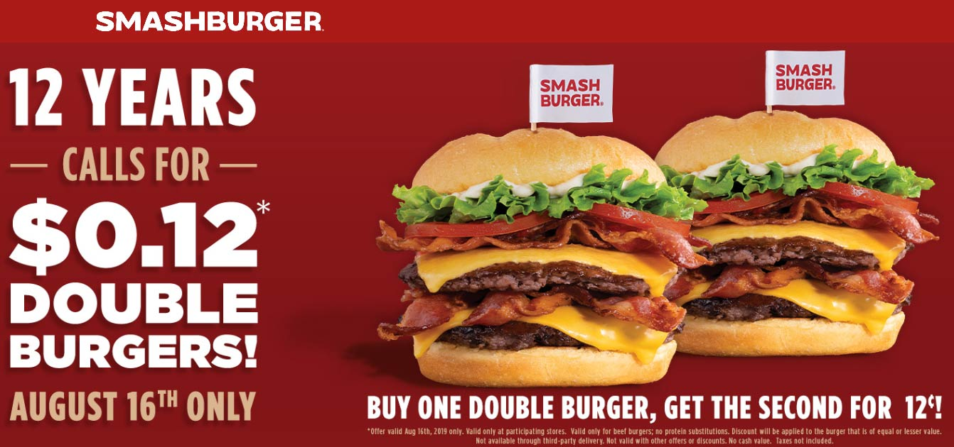 Smashburger.com Promo Coupon Second cheeseburger for .12 cents today at Smashburger