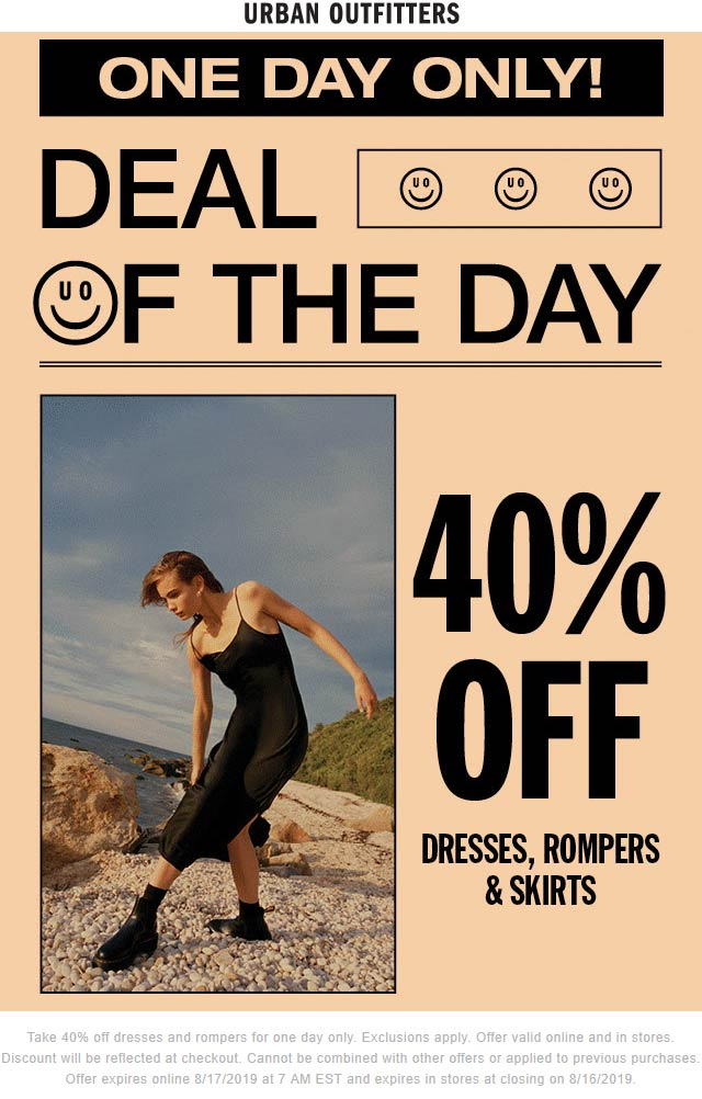UrbanOutfitters.com Promo Coupon 40% off dresses & skirts today at Urban Outfitters, ditto online