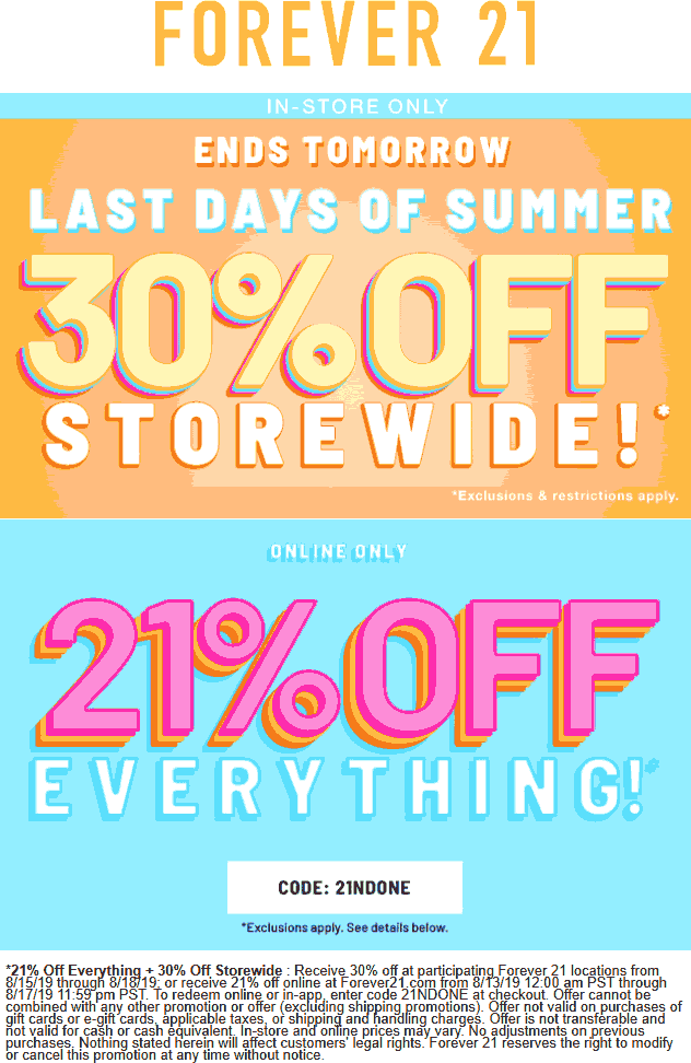 Forever 21 Coupon October 2019 30% off at Forever 21, or 21% online via promo code 2INDONE