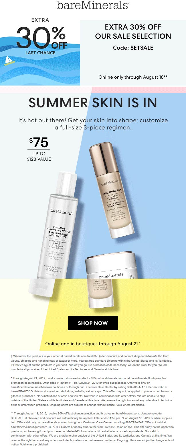 bareMinerals Coupon July 2020 Extra 30% off sale items online today at bareMinerals via promo code SETSALE