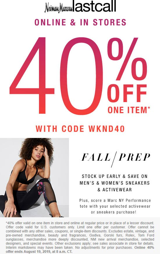 LastCall.com Promo Coupon 40% off a single item today at Last Call, or online via promo code WKND40
