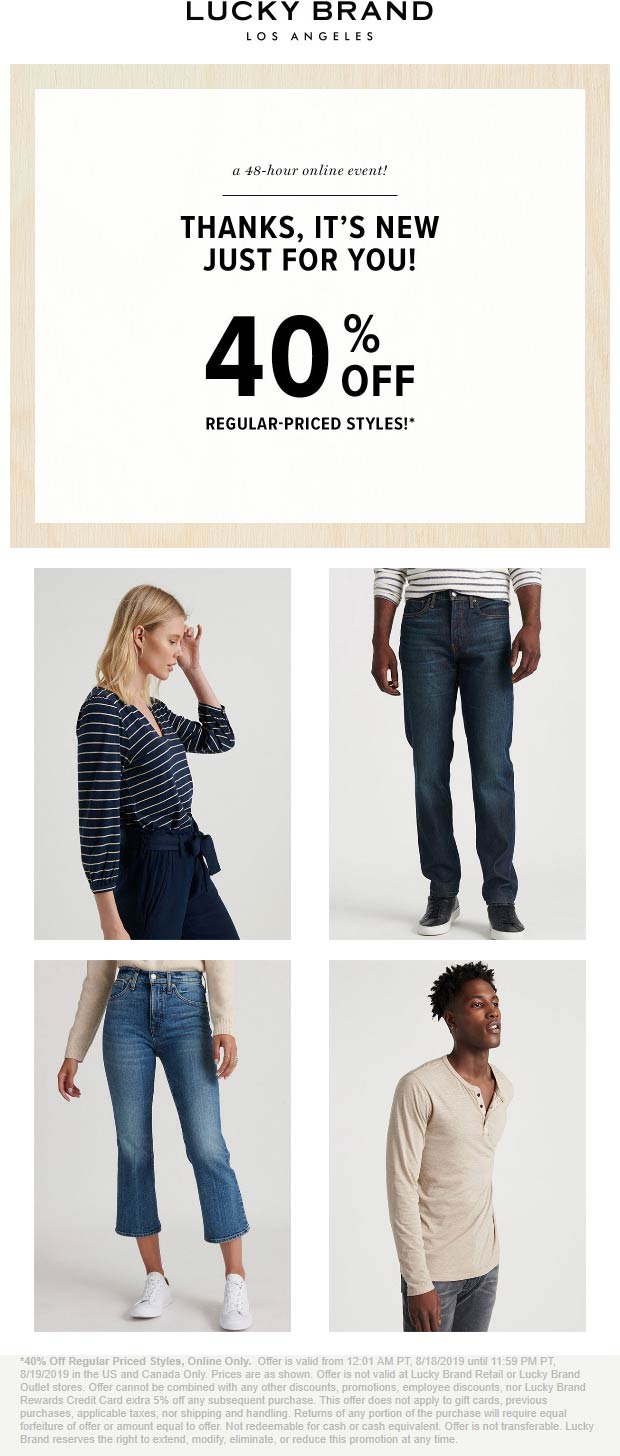 Lucky Brand Coupon February 2020 40% off online at Lucky Brand, no code needed