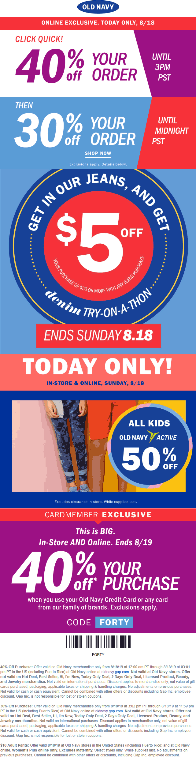 Old Navy Coupon February 2020 40% off online & more today at Old Navy via promo code FORTY