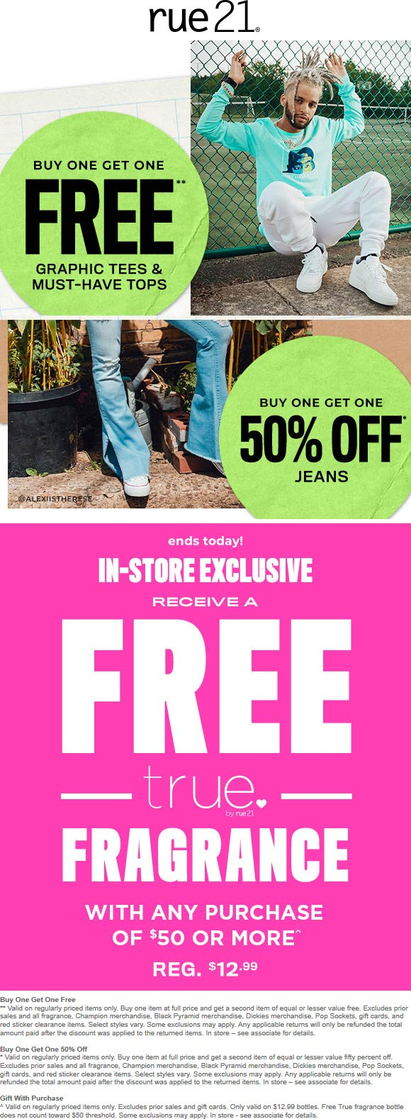 Rue21.com Promo Coupon Free fragrance with $50 spent, second tshirt free & more today at rue21, ditto online