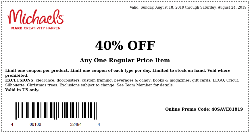 Michaels.com Promo Coupon 40% off a single item at Michaels, or online via promo code 40SAVE81819