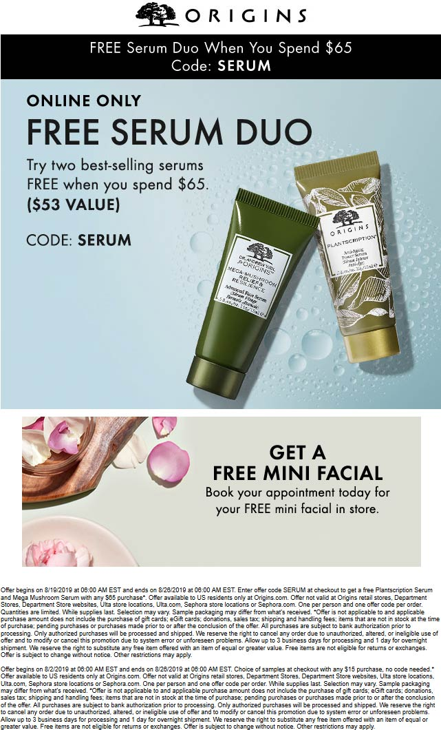 Origins Coupon November 2019 Free $53 duo with $65 spent online at Origins via promo code SERUM