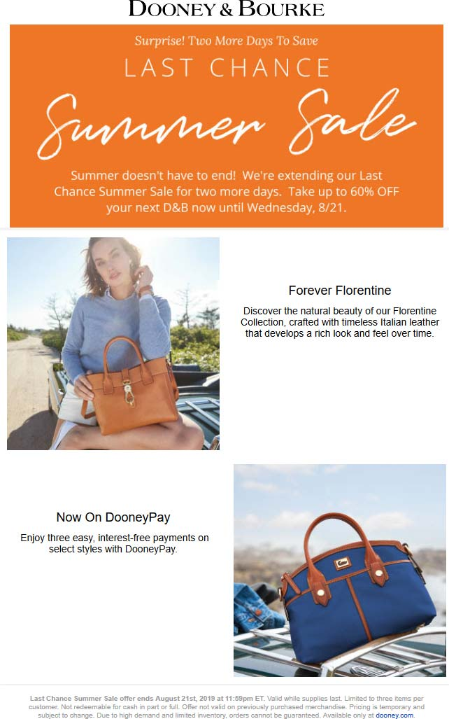 Dooney & Bourke Coupon November 2019 60% off sale going on at Dooney & Bourke, ditto online