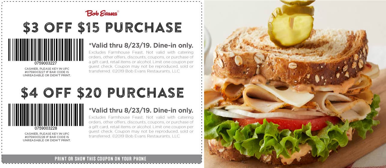 BobEvans.com Promo Coupon $3-$4 off $15+ at Bob Evans restaurants