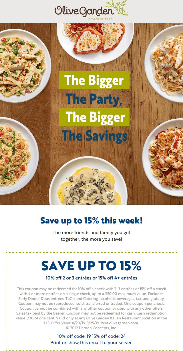 OliveGarden.com Promo Coupon 10-15% off at Olive Garden restaurants