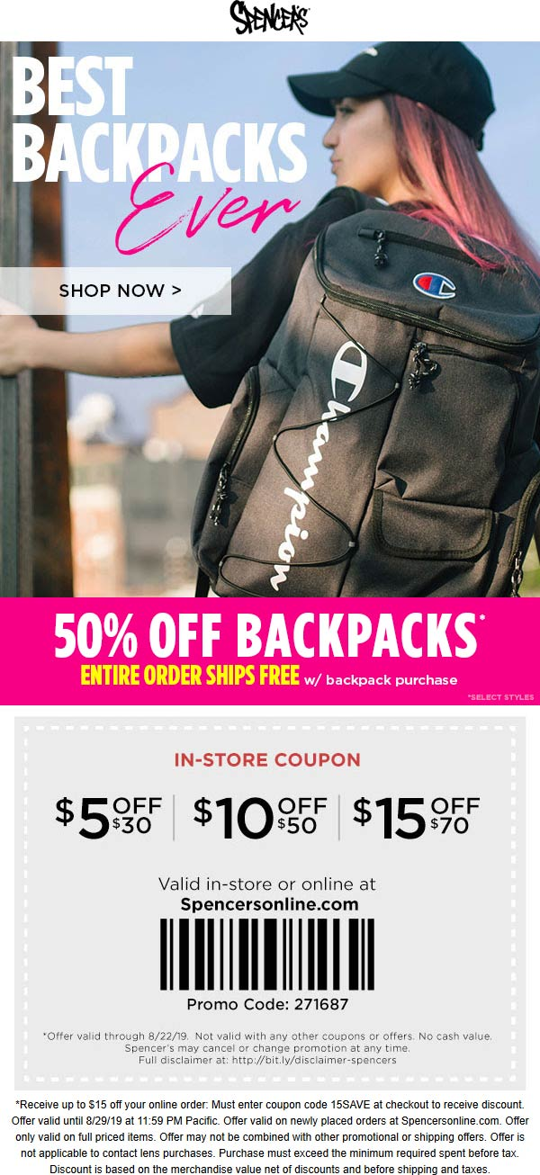 Spencers Coupon November 2019 50% off backpacks & more at Spencers, or online via promo code 15SAVE