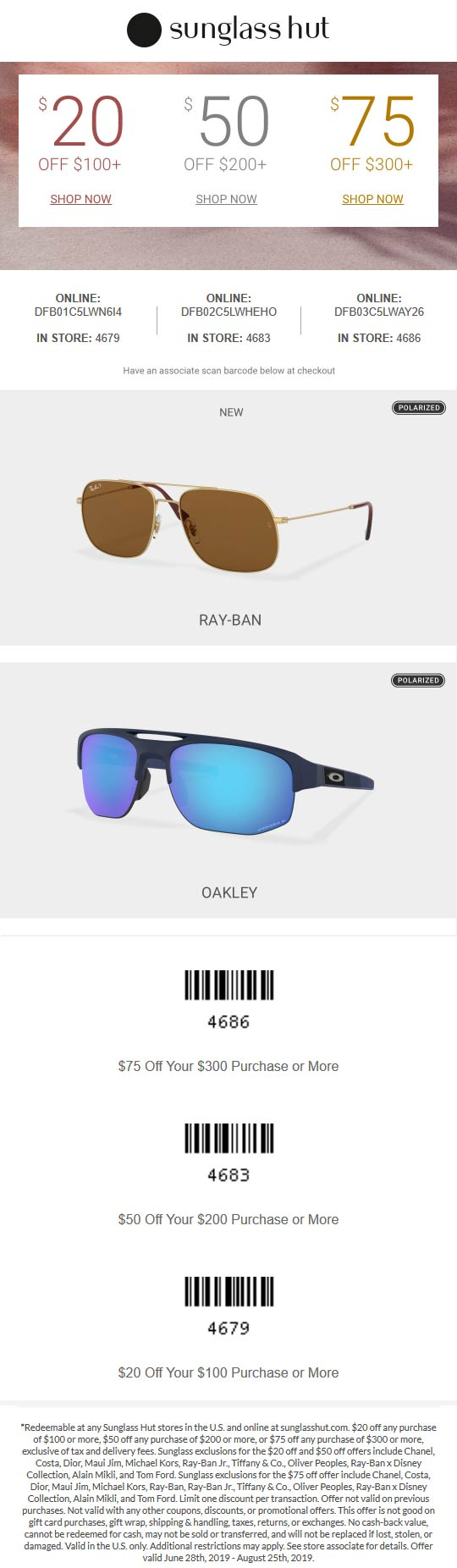 Sunglass Hut Coupon November 2019 $20 off $100 & more at Sunglass Hut, or online via promo code DFB01C5LWN6I4