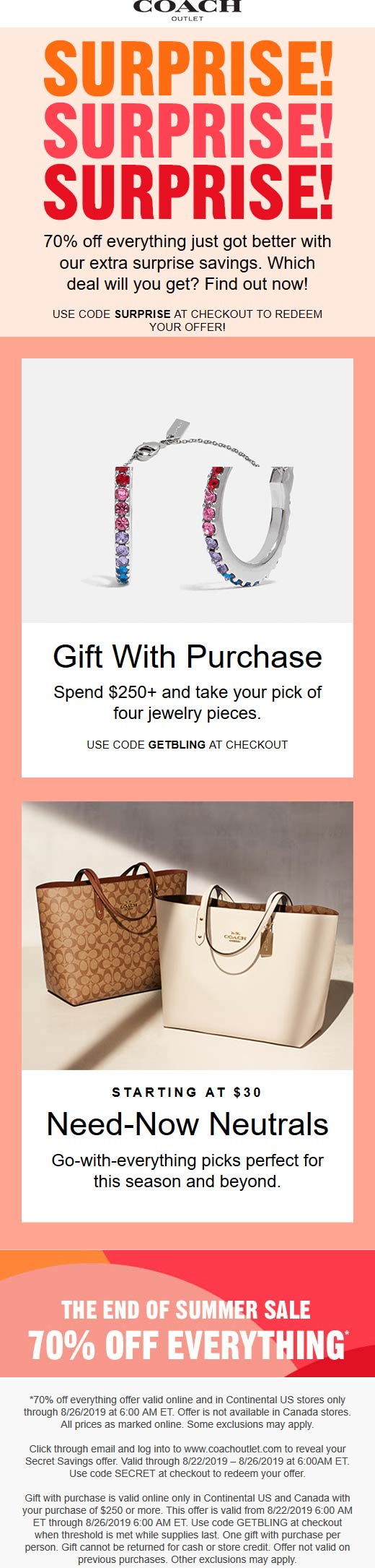 CoachOutlet.com Promo Coupon 70% off everything at Coach Outlet, or online via promo code SURPRISE