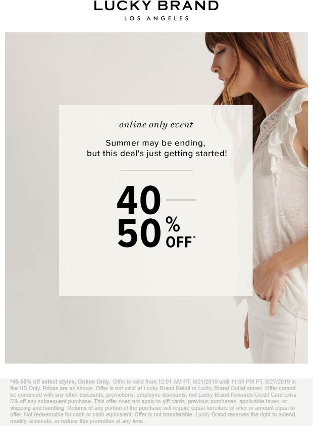 Lucky Brand coupons & promo code for [October 2020]